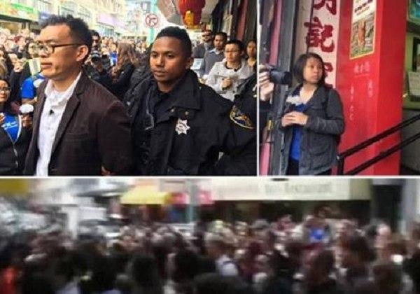 """美国一动物组织200人围堵华人家禽店 硬闯""""救鸡"""""""