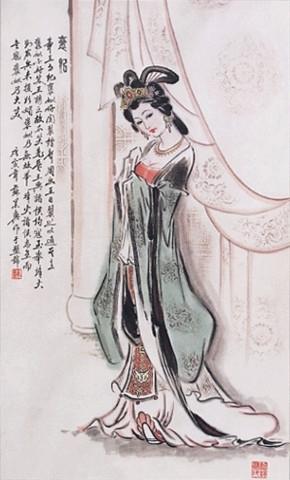 古典美女慵懒手绘