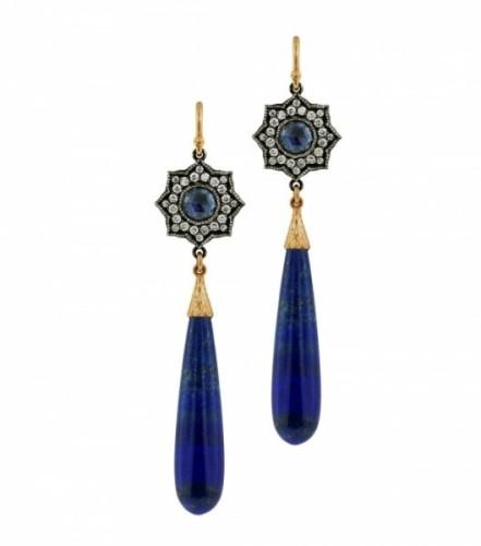 arman sarkisyan青金石耳环,古典的气质中也透露出了一丝丝现代感.
