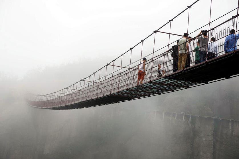 吊桥中间段的木板改