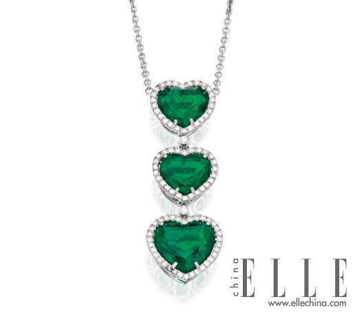 心形切割的祖母绿项链