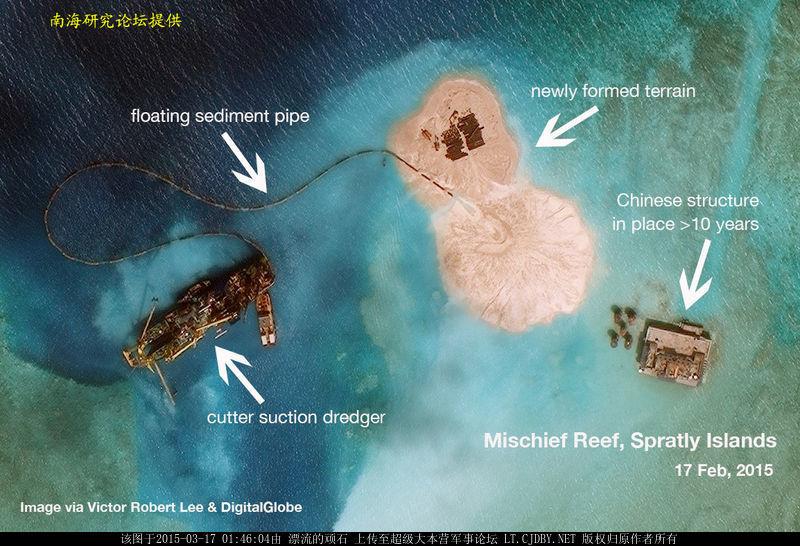 中国南海岛礁扩建最新卫星照