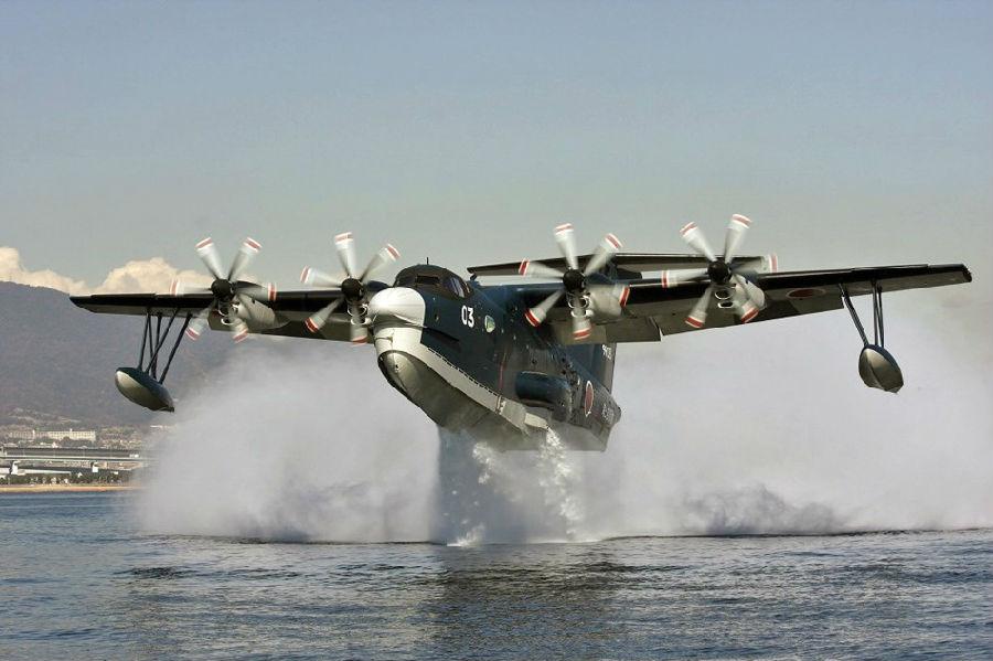 组图:日本海上自卫队最新型水上飞机栽进大