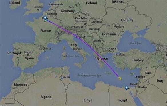 一架从巴黎飞往开罗客机失联