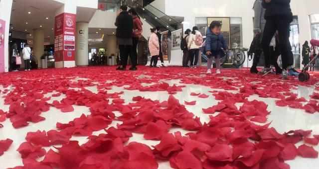 杭州一家商场内,满地的仿真花瓣吸引了众多的游客和市民驻足观看。据介绍,这些花瓣是50位工作人员连续加班3天3夜做出来的,手搓了近240万片仿真花瓣。