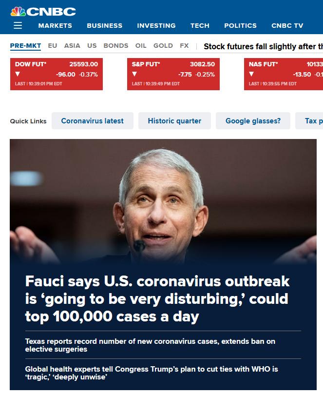 福奇博士警告说:美国的新冠肺炎病例每天可能会在西方主流媒体上增加10万条头条