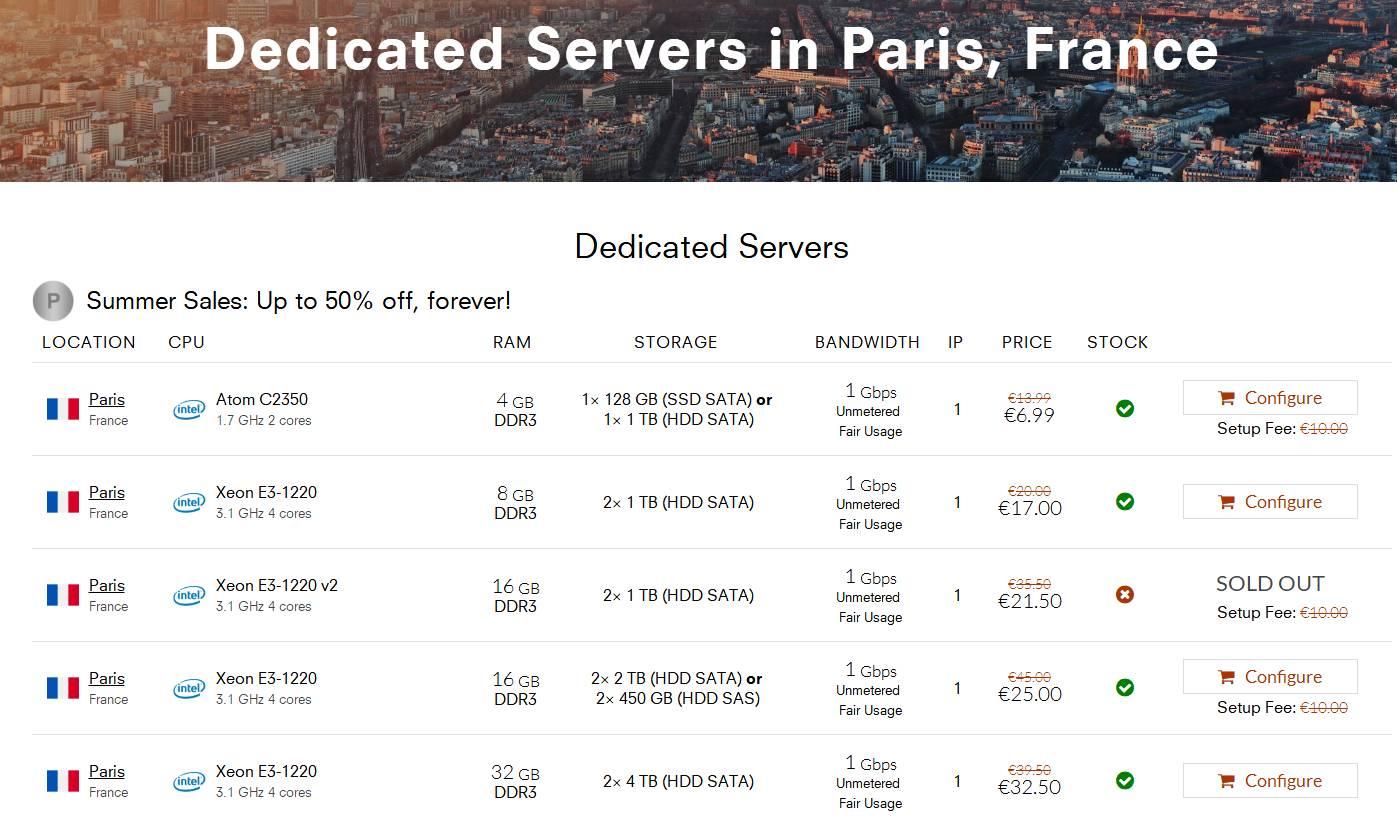 羊毛党之家 OneProvider - 法国特价独服€6.99/月 4GB RAM/2TB HDD/带宽1G