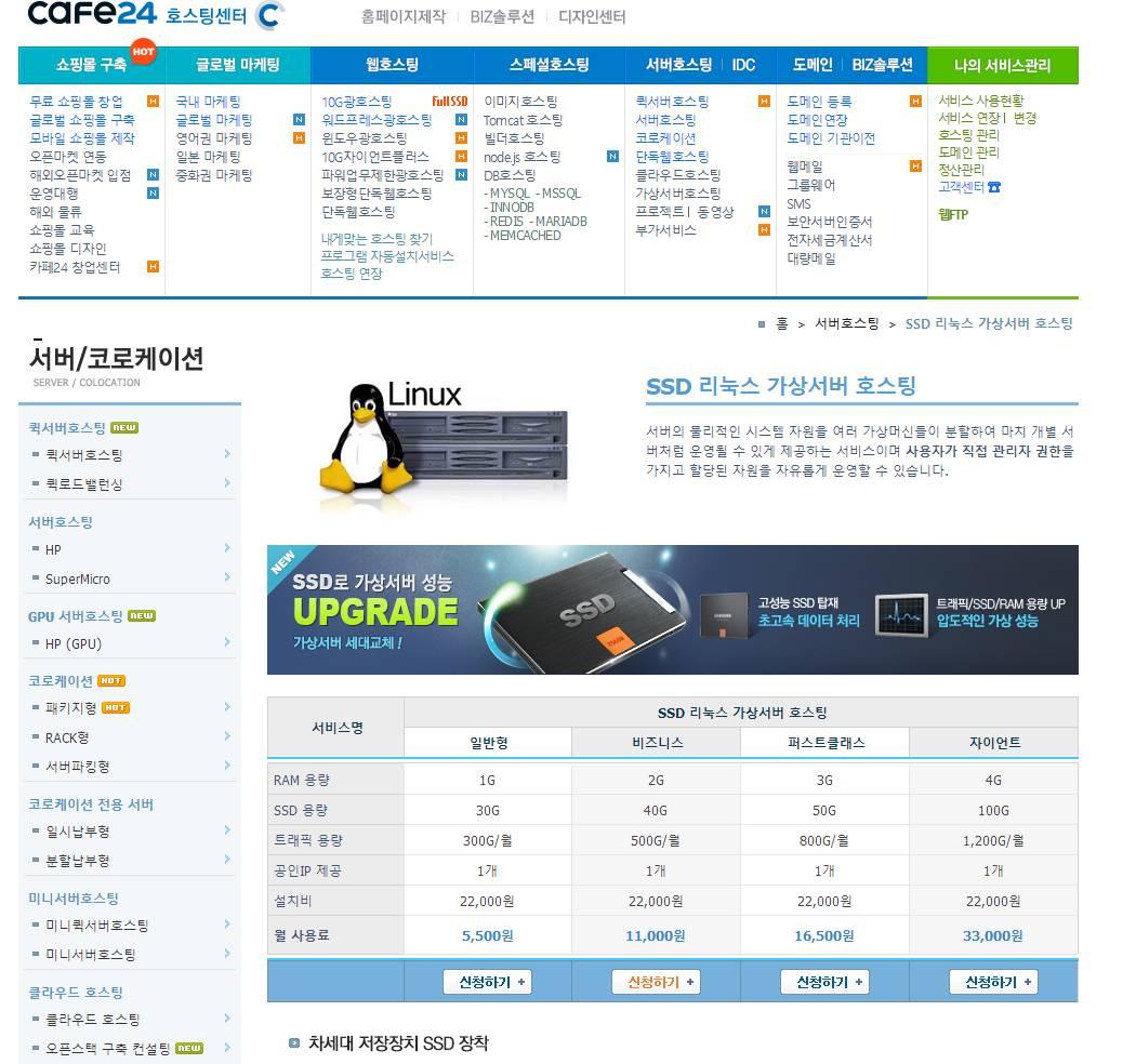 羊毛党之家 没有用过-cafe24:$5/月/1GB内存/30GB SSD硬盘/300GB流量/KVM/韩国