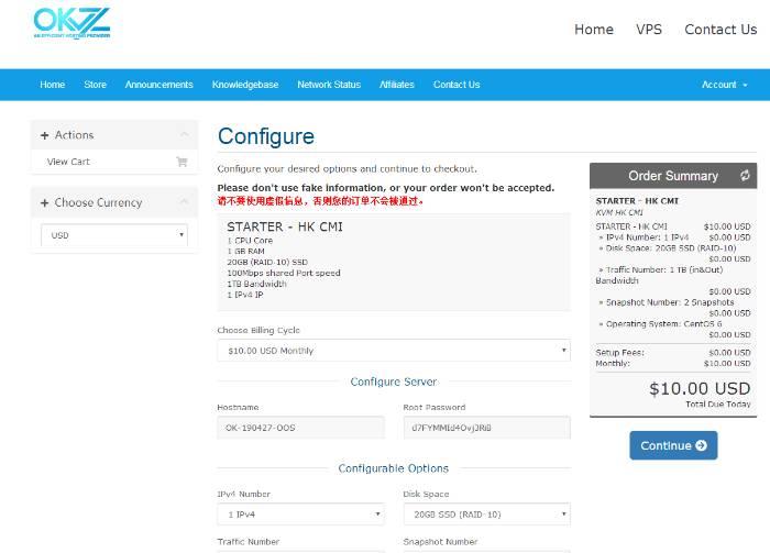 羊毛党之家 国人新商家-okvz:$10/月/1GB内存/20GB SSD空间/1TB流量/100Mbps/DDOS/KVM/香港Cera https://www.wutianxian.com