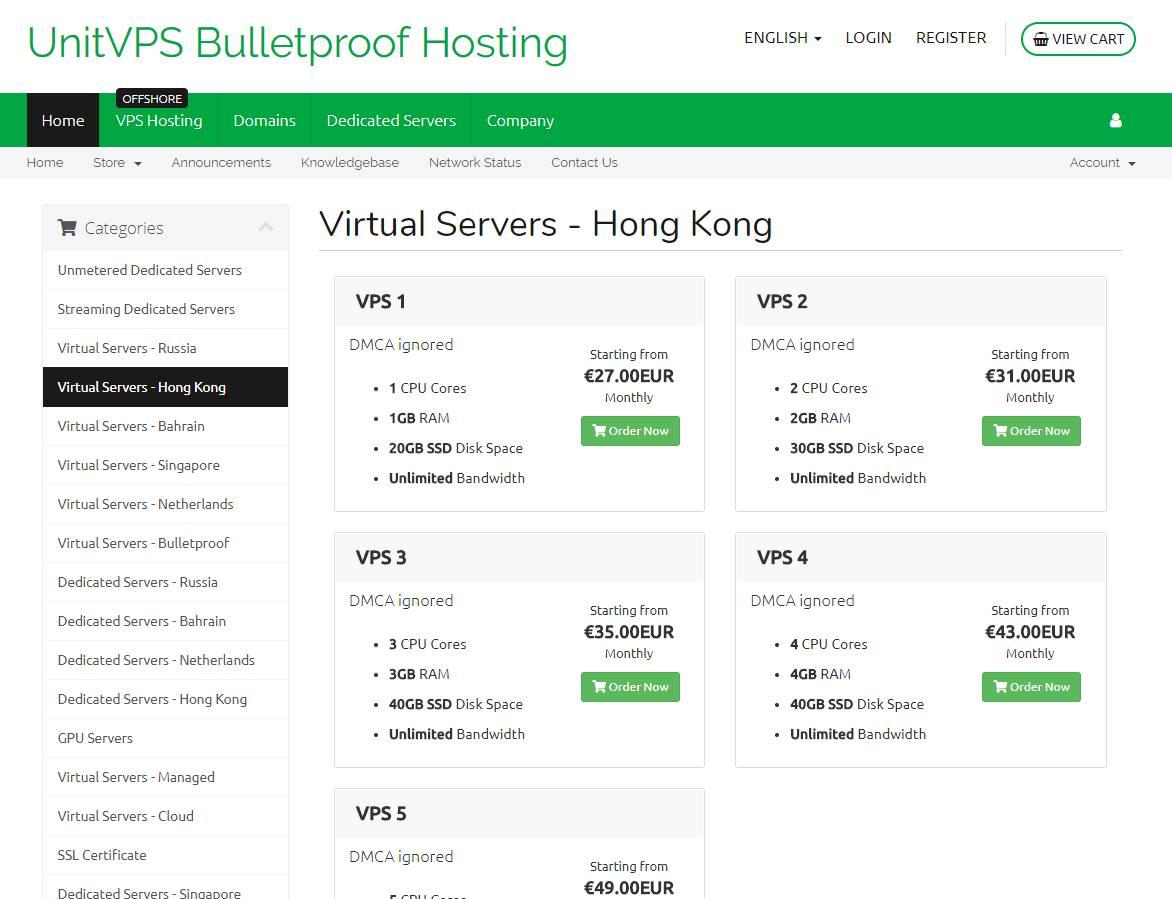 羊毛党之家 就是贵没有DMIT好-UnitVPS:€27/月/1GB内存/20GB SSD空间/不限流量/150Mbps/KVM/香港/新加坡/无视DMCA